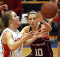 Basketball girls loose ball Royalty Free Stock Images