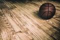 Basketball on Hardwood 2 Royalty Free Stock Photo