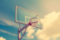 Basketball hoop against sky background Royalty Free Stock Photo