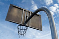 Basketball hoop from below with sky in the backdrop Stock Photography