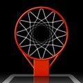 Basketball hoop on black