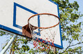 Basketball hoop and a cage in the park Royalty Free Stock Photos
