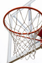 Basketball hoop close up view of a white background Royalty Free Stock Images