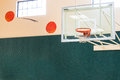 Basketball hoop indoor with two orange basketballs painted on wall looking like they are going toward the basket copy space Stock Images