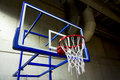 Basketball hoop inside school stadium Stock Photo
