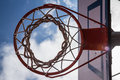 Basketball hoop from underneath shot Stock Photography