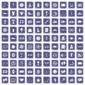 100 basketball icons set grunge sapphire Royalty Free Stock Photo