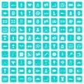 100 basketball icons set grunge blue Royalty Free Stock Photo