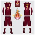 Basketball jersey, shorts, socks template for basketball club. Front and back view sport uniform. Tank top t-shirt mock up.