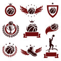 Basketball labels and icons set vector Royalty Free Stock Photo
