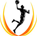 Basketball lay up athlete leaping a nice shot isolate white background Stock Photo
