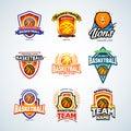 Basketball logo templates set, basketball logotype collection, badge logo design templates, sport logotype templates.