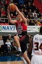 Basketball match renaldas seibutis of lietuvos rytas drives to the hoop at the donetsk donetsk ukraine vs lietuvos rytas vilnius Royalty Free Stock Image