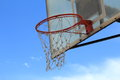 Basketball net in blue background Royalty Free Stock Images