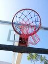 Basketball net on blue sky background Stock Photo