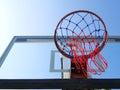 Basketball net on blue sky background Royalty Free Stock Photos