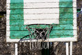 Basketball net green on the common yard Royalty Free Stock Images