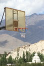 Basketball net in mountain background Stock Images