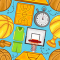 Basketball pattern sport vector illustration of a equipment seamless background Royalty Free Stock Photos