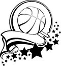Basketball With Pennant & Stars Design Royalty Free Stock Photo