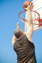 Basketball player with ball throw the Stock Images