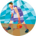 Basketball Player Dribbling Ball Circle Low Polygon Royalty Free Stock Photo