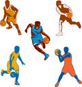 Basketball Player Dribbling Ball Collection Royalty Free Stock Photo
