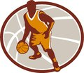 Basketball Player Dribbling Ball Oval Retro Royalty Free Stock Photo