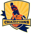 Basketball Player Dribbling Ball Retro Royalty Free Stock Photo