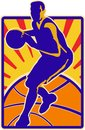 Basketball Player Dribbling Ball Retro Royalty Free Stock Photo