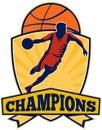 Basketball Player Dribbling Ball Shield Retro Royalty Free Stock Photo