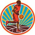 Basketball Player Dribbling Ball Woodcut Retro Stock Image