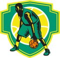 Basketball Player Dribbling Ball Woodcut Shield Retro Royalty Free Stock Photo