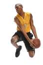 Basketball player dunking ball african american isolated over white background Royalty Free Stock Images