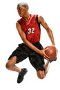 Basketball player dunking ball african american isolated over white background Stock Photos