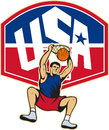 Basketball Player Dunking Ball USA Royalty Free Stock Photo