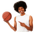 Basketball player holding ball Royalty Free Stock Image