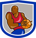 Basketball Player Holding Ball Shield Cartoon Royalty Free Stock Photo