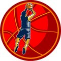 Basketball Player Jump Shot Ball Woodcut retro Royalty Free Stock Photography