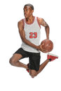 Basketball player jumping african american isolated over white background Royalty Free Stock Images