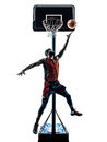 Basketball player jumping throwing silhouette one african man in isolated white background Royalty Free Stock Photography