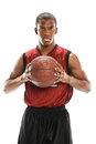 Basketball player portrait of african american ith sweat on face holding ball Royalty Free Stock Images