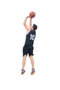 Basketball player shooting on white Royalty Free Stock Photo