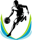 Basketball player silhouette fast athlete dribbling the ball isolated on white background Stock Photos