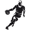 Basketball player silhouette isolated on white Stock Image