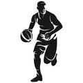 Basketball player silhouette isolated on white Stock Photo