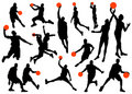 Basketball player silhouettes Stock Images