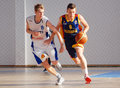Basketball players in action pictured during the game between romania and estonia counting for u european championship which took Royalty Free Stock Photos
