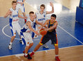 Basketball players in action pictured during the game between romania and estonia counting for u european championship which took Royalty Free Stock Images