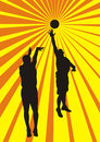 Basketball players background indoor team sport player positions shoot a ball Royalty Free Stock Photos